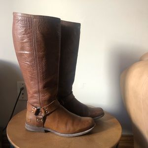 Frye Phillip Tall Harness Riding Boot Cognac Brown